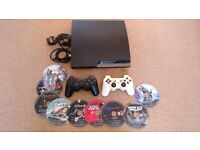 PS3 slim, 320gb, 9 games, 2 controllers, power + HDMI + controller cables