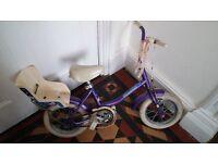 "Bike 12"" wheels in purple with stabilisers"