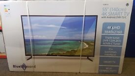 "BRAND NEW SEALED BLUE DIAMOND 55"" 140CM 4K SMART TV WITH ANDRIOD DVB-T2/C CHEAPEST IN UK £375"
