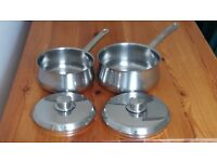 2 STAINLESS STEEL SAUCEPANS WITH LIDS