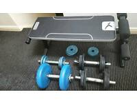 Bench and dumbbells