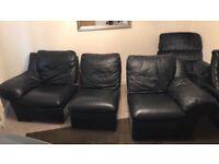Black leather large 3 sweater sofa