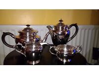 Walker and Hall Four Piece Silver Plated Tea Set