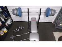 York weight bench with 60kgs weights and 3 bars