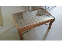 Beautiful Hardwood Table with Inlaid Carved Design