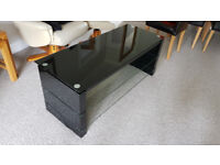 Glass and Black Gloss Tiered TV Stand FOR SALE