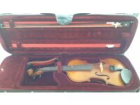 full size violin including bow and case