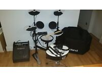 ALL-ROLAND DRUM KIT, TD4KP PORTABLE FOLDING KIT + PM10 PERCUSSION AMP +... ALL IN SUPERB CONDITION