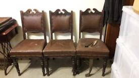 Three vintage dining chairs