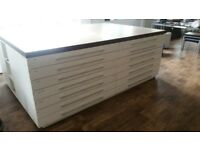 Large bespoke print table and drawers - 240 x 160 x 90 cm - free