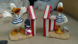 Collectable, Pair of duck book ends, with springy beaks