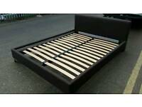 BROWN FABRIC KING SIZE BED FRAME CAN DELIVER
