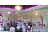 Wedding, parties and funeral venue hall set up, including chair covers