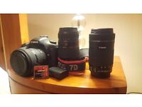 Canon 7D + grip + 18-50 f2.8 + 55-250 STM + 70-300+ lens , 2 batteries