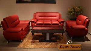 LIMITED STOCK 3PCS BONDED  LEATHER SOFA SET $629 LOWEST PRICE JUST A FEW SET LEFT