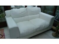 2 White Leather 2-seater Settees