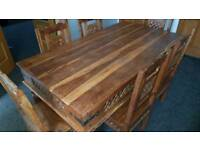 Indian Sheesham jali dining table with 6 Jali chairs