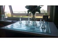 Solid glass chess set and board - 35cm square - £5 no offers