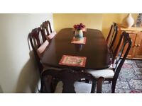 Queen Anne Dining Table and Six Chairs