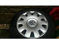 Winter tyres, 195/65x15 Goodyear Ultragrip, on VW Golf steel wheels