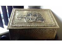 fireplace brass effect coal box
