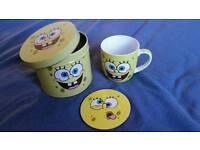 Spongebob squared pants cup coaster tin set
