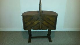 Old Classic Cantilever Wood Sewing Box
