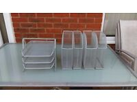 Office storage - desk tray and 4 file holders silver
