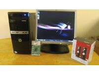 HP Business Home Student PC Desktop Tower & HP 17 inch Monitor