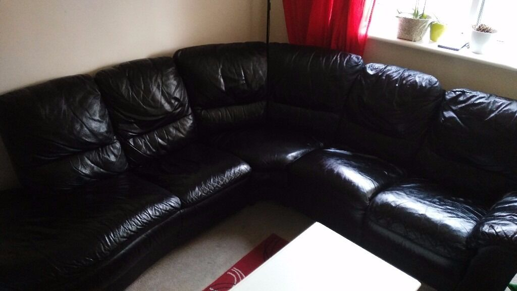 Black leather sofain Bournemouth, DorsetGumtree - Black leather sofa for sale, good condition, only a couple of marks but nothing major. Very comfortable. Selling to buy a sofa bed. It can be taken apart in 2 for easier transportation. £250 open to offers