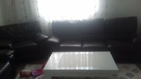 3 2 and 1 seater dfs brown larher sofa for sale £250