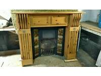 Solid pine fire surround and old fire place