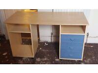 Computer Desk Blue Width: 127cm, Depth: 60cm Height: 69cm large