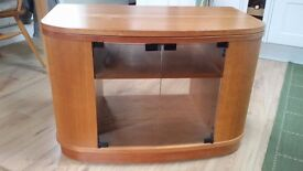 Wooden glass fronted, swivel top TV stand with side shelving