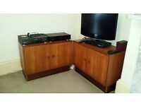 CABINETS, pair. TV HiFi Music. Bereavement sale. BARGAIN!! £20 each or OFFER!! Try your luck!!