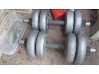 dumbells with 4 x 4.4IBs [ 4 x 2kg ] weights on each ,