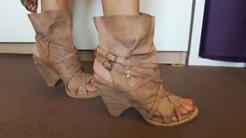 Open ankle boot - funky heels leather Size 41