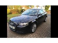 2007 Audi A3, 1.9 TDI diesel, alloy wheels, black, 3 door.