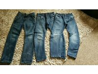 3 pairs boys trendy cut jeans age 8/9 years all in perfect condition