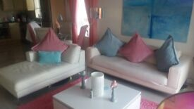 NEW PRICE 200 Pound for BOTH! Off White Leather Chaise lounge AND Blush Leather 3 Seat Sofa