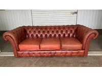 Stunning vintage leather chesterfield sofa £350