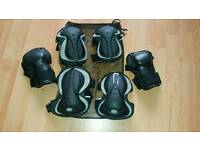 Skate Pads (Black) Protection Set for Knee, Elbow, Wrist Safety