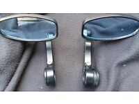 Bar end mirrors, black alloy with blue tinted glass