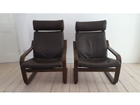 Pair of brown leather and wood easy armchairs - Ikea Poang - £55 each