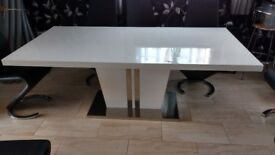 DINING TABLE white, seats 8, (no chairs )