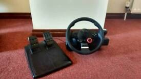 Logitech GT Driving Force Steering Wheel and Thrustmaster Joystick