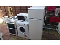 Elec cooker, washing machine, fridge freezer, microwave