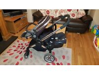 iCandy Peach Blossom Double Pram; maxiCosi Car Seats