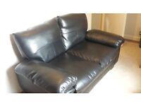 Black simil leather 2 seater sofa