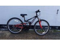 Kids 18 speed full suspension mountain bike